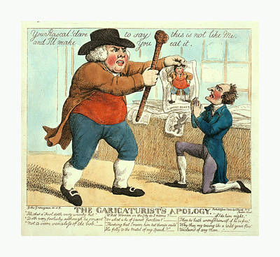 Caricature Drawing - The Caricaturists Apology, Grinagain, Giles by Litz Collection