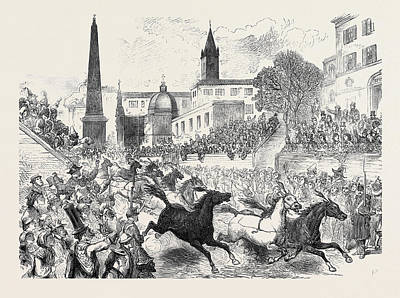 Horse Racing Drawing - The Carnival In Rome Horse Racing On The Corso 1873 by English School