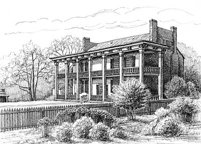 Pen And Ink Historic Buildings Drawings Drawing - The Carnton Plantation In Franklin Tennessee by Janet King