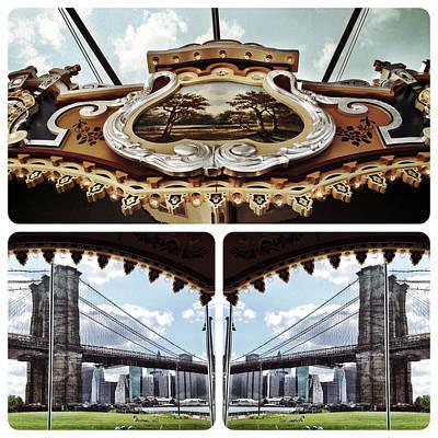 Nyc Digital Art - The Carousel And The Bridge by Natasha Marco