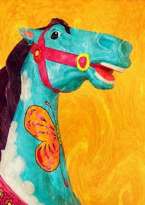 Mixed Media - The Carousel Horse by Bob Pardue
