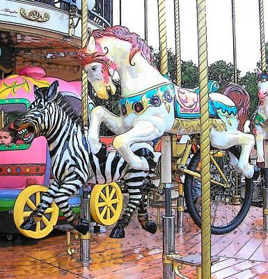 French Street Scene Digital Art - The Carousel In Paris by Jan Matson