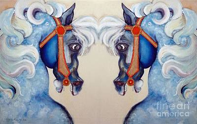 Giclee Mixed Media - The Carousel Twins by Carolyn Weltman