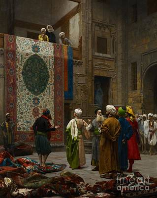 Oriental Painting - The Carpet Merchant by Jean Leon Gerome