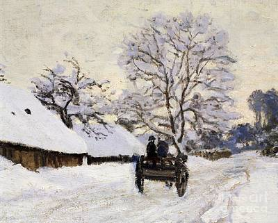 Monet Photograph - The Carriage- The Road To Honfleur Under Snow by Claude Monet