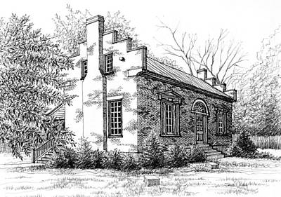 Drawing - The Carter House In Franklin Tennessee by Janet King