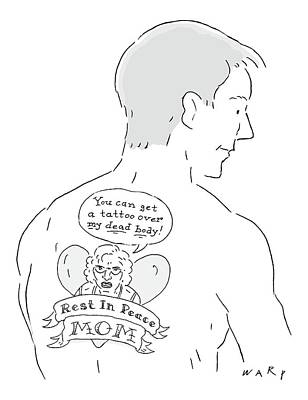Drawing - The Cartoons Shows A Man With A Large Back Tattoo by Kim Warp