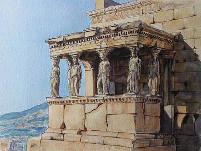 The Caryatid Porch Of The Erechtheion Art Print by Henrieta Maneva