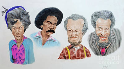 Drawing - The Cast Of Sanford And Son Altered Version by Jim Fitzpatrick