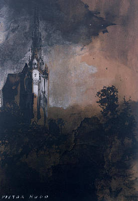 Tower Drawing - The Castle In The Moonlight  by Victor Hugo
