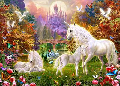 The Castle Unicorns Art Print by Jan Patrik Krasny