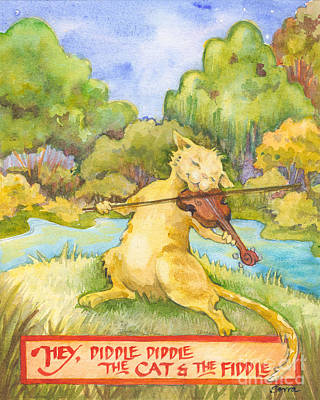 Art Print featuring the painting The Cat And The Fiddle by Lora Serra