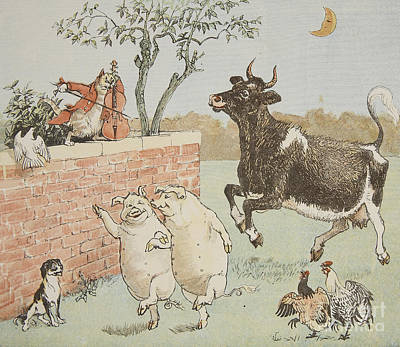 Nursery Rhyme Painting - The Cat And The Fiddle by Randolph Caldecott