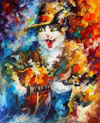 Cat Reflection Painting - The Cat And The Guitar by Leonid Afremov