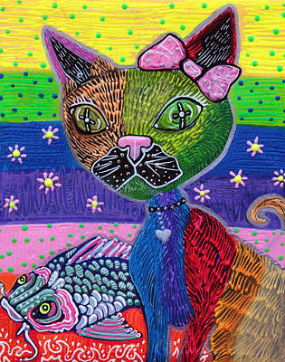Polkadots Painting - The Cat And The Koi by Laura Barbosa