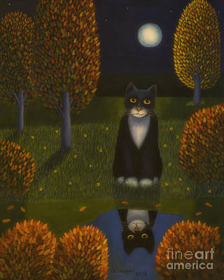 Multicolored Painting - The Cat And The Moon by Veikko Suikkanen