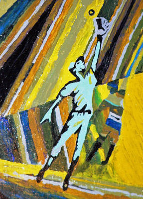 Outfielder Painting - The Catch by Michael Tokarski