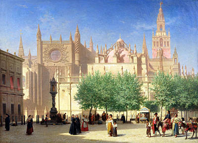 Spanish Town Painting - The Cathedral Of Seville by Achille Zo