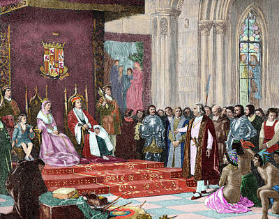 Kings Of Leon Photograph - The Catholic Kings Receiving Columbus by Prisma Archivo