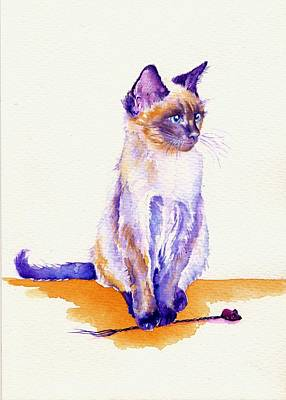 Cats Painting - The Catmint Mouse Hunter by Debra Hall