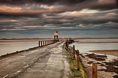Storm Clouds Sunset Twilight Water Photograph - The Causeway From Holy Island by John Short