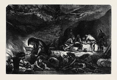 Cavern Drawing - The Cavern, By Celestin Nanteuil La Caverne by Nanteuil, Celestin Francois (1813-73), French