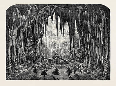 Cavern Drawing - The Caverns Of Ice At The Alhambra Leicester Square London by English School
