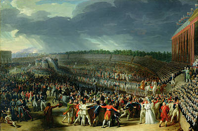 Gathering Photograph - The Celebration Of The Federation, Champs De Mars, Paris, 14 July 1790 Oil On Canvas by Charles Thevenin