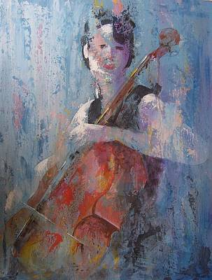 Pallet Knife Painting - The Cello by John Henne