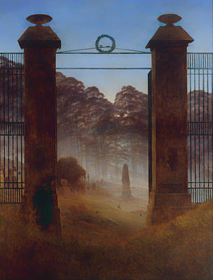 Headstones Painting - The Cemetery by Mountain Dreams