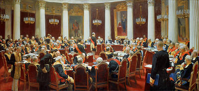 The Ceremonial Sitting Of The State Council 7th May 1901 Art Print by Ilya Efimovich Repin