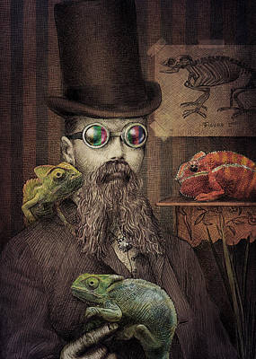 Steampunk Drawing - The Chameleon Collector by Eric Fan