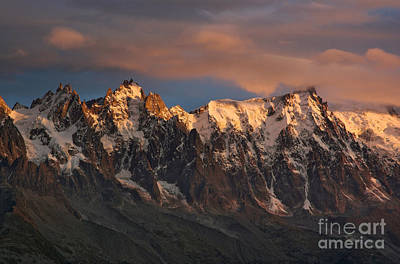 The Chamonix Aiguilles At Sunset Art Print by Colin Woods