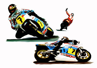 Painting -  Farewell  Barry Sheene by Iconic Images Art Gallery David Pucciarelli