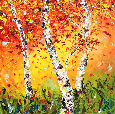 Birch Tree Painting - The Change by Meaghan Troup