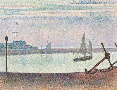 Port Town Painting - The Channel At Gravelines In The Evening by Georges Seurat