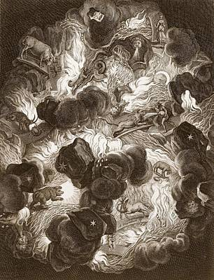 Cosmos Drawing - The Chaos, Engraved By Bernard Picart by Abraham Jansz van. Diepenbeeck