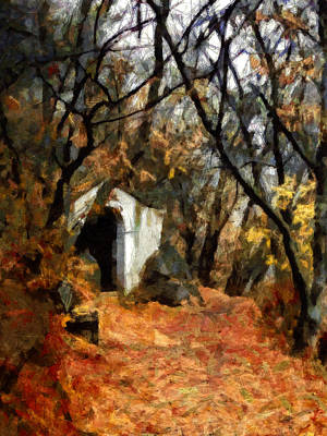 Painting - The Chapel In The Rock - Holy Hill Mikulov by Menega Sabidussi