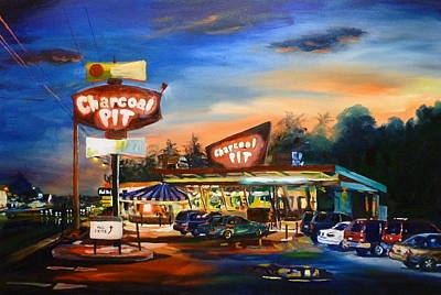 Hamburger Painting - The Charcoal Pit by Kevin Brown