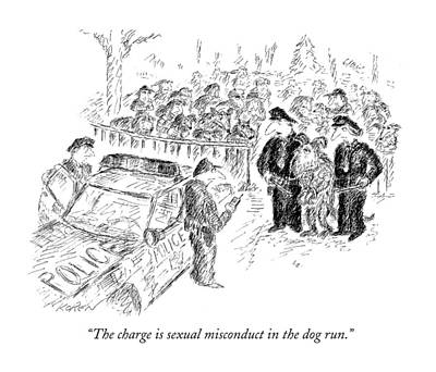 Dismay Drawing - The Charge Is Sexual Misconduct In The Dog Run by Edward Koren