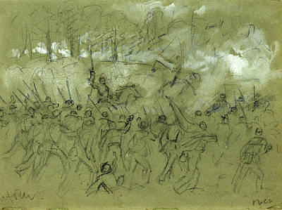 Vermont Drawing - The Charge Of The 8th Vermont At The Battle Of Winchester by Quint Lox