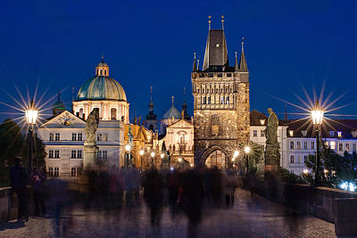 The Charles Bridge At Night - Prague Art Print