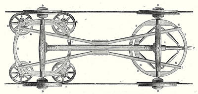 Wagon Wheels Drawing - The Chassis Of A Flat Wagon With Arnouxs System by English School