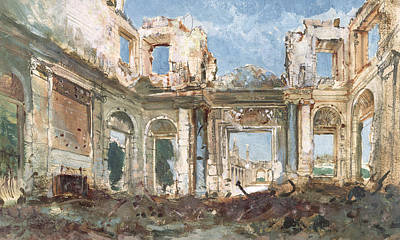 Desolated Painting - The Chateau De Saint-cloud After The Fire  by Pierre Tetar van Elven
