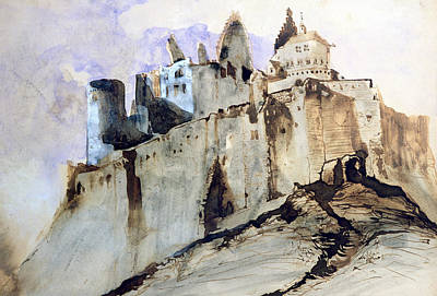Dracula Drawing - The Chateau Of Vianden by Victor Hugo