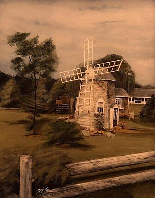 Chatham Mixed Media - The Chatham Windmill Cape Cod Ma by Diane Strain