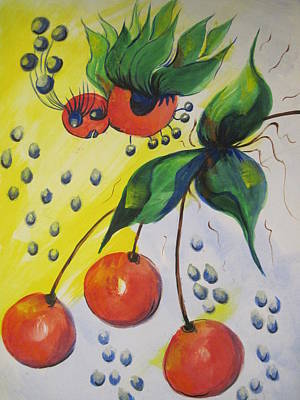 The Cherry Fairy Art Print by Shirley Watts
