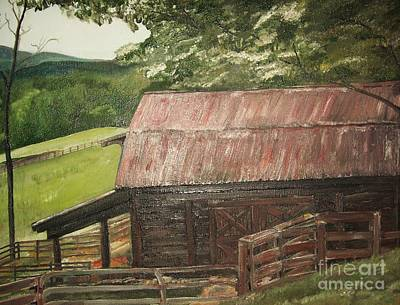 Tin Roof Painting - The Cherrys Barn by Jan Dappen