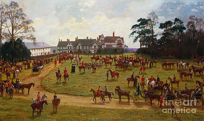 English Horse Painting - The Cheshire Hunt    The Meet At Calveley Hall  by George Goodwin Kilburne