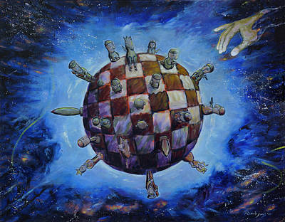 Pawn Painting - The Chess Game by Robert Jones